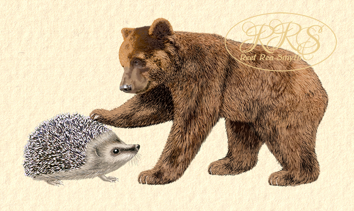 Young hedgehog and bear